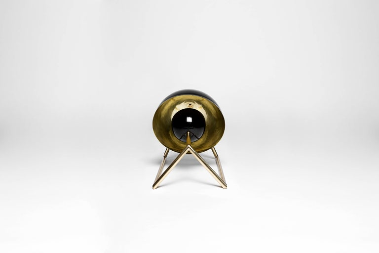 Mid-Century Modern Cosmic Inspired Brass and Lacquer Table Lamp by Nomade Atelier For Sale