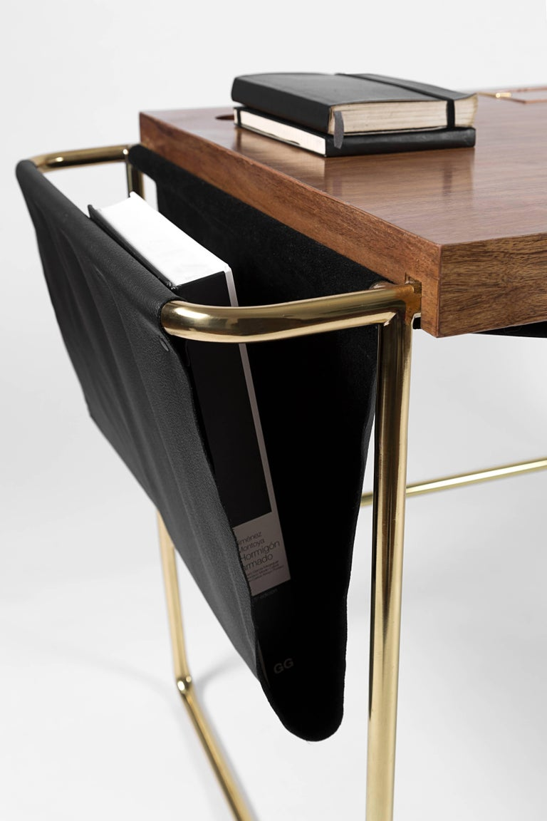 Hand-Carved Casablanca Brass, Mexican Walnut and Leather Desk / Nomade Atelier Design For Sale