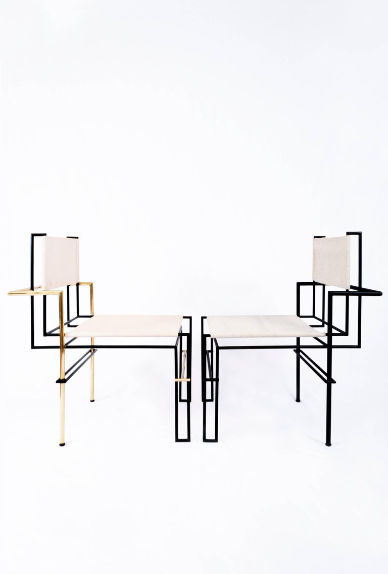 Blackened CASBAH Chair, Functionalist Inspired Brass, Vachetta Tubular by Nomade Atelier For Sale