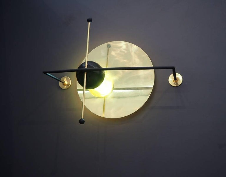 Hand-Crafted LMN Brass and LED Wall Sconce by Nomade Atelier For Sale