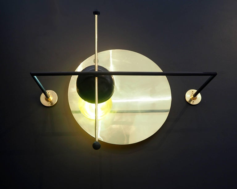 Bauhaus LMN Brass and LED Wall Sconce by Nomade Atelier For Sale