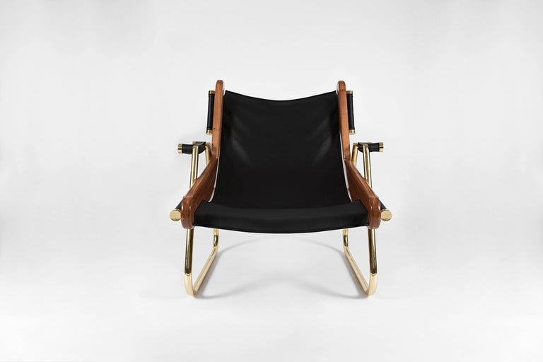 Mexican GRAPPA Contemporary Leather Lounge Chair with Walnut Panels and Brass Piping For Sale