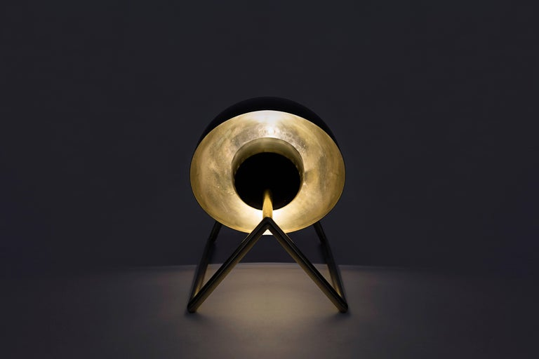 Hand-Crafted Cosmic Inspired Brass and Lacquer Table Lamp by Nomade Atelier For Sale