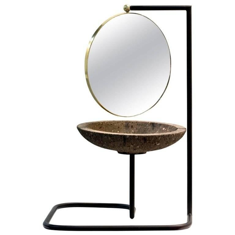 Satelite Contemporary Brass and Quarry Stone Vanity Mirror with Ironwork Stand