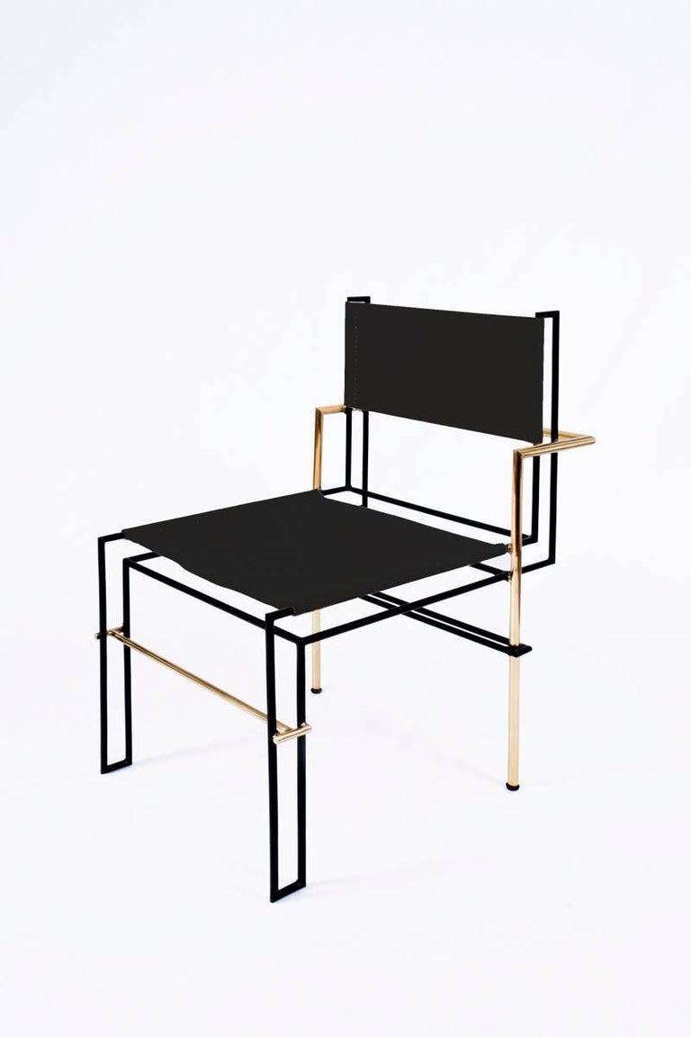 Bauhaus CASBAH Chair, Functionalist Inspired Brass, Vachetta Tubular by Nomade Atelier For Sale