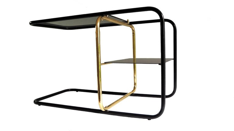 Mexican Lateral Side Table, Brass, Iron and Smoked Glass / Nomade Atelier Design For Sale