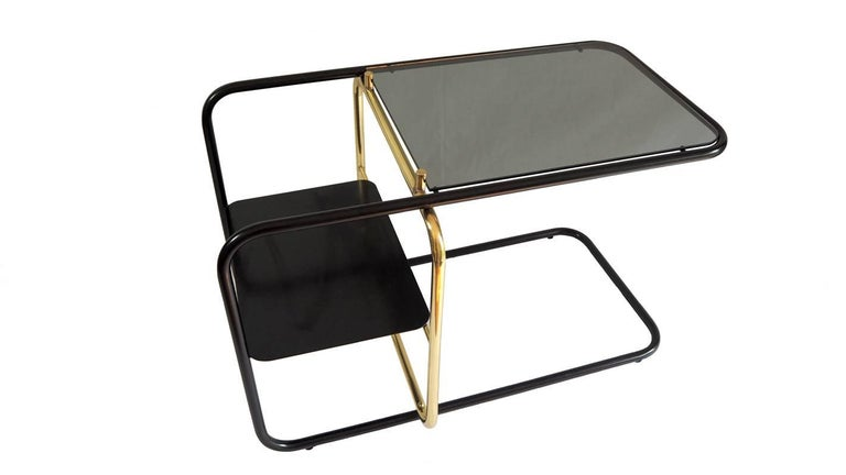 Mid-Century Modern Lateral Side Table, Brass, Iron and Smoked Glass / Nomade Atelier Design For Sale