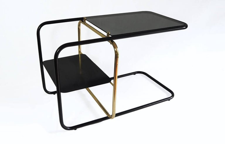 Hand-Carved Lateral Side Table, Brass, Iron and Smoked Glass / Nomade Atelier Design For Sale