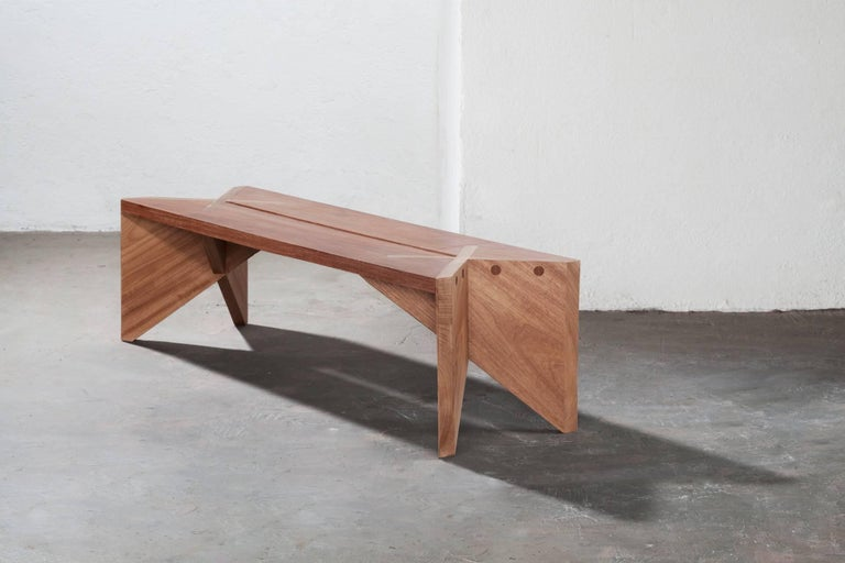 Modern Xingu Bench Brazilian Contemporary Design in Two Hardwoods For Sale