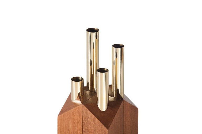 Grey Vase and Candleholder in Solid Wood and Brass 6