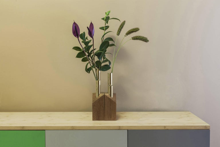 Grey Vase and Candleholder in Solid Wood and Brass 3