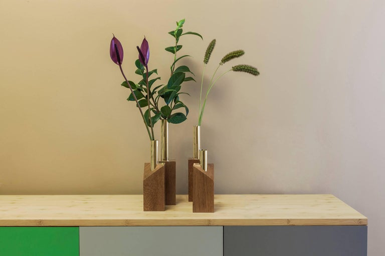 Grey Vase and Candleholder in Solid Wood and Brass 4