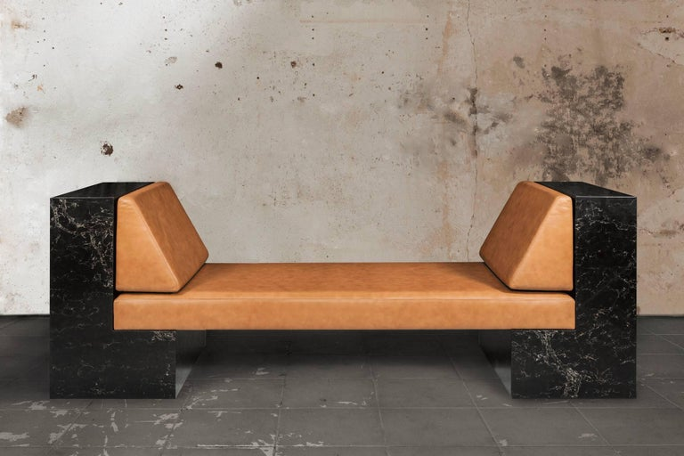 Hand-Crafted INI Daybed by Noemi Saga Atelier Caesarstone/Leather Brazilian Contemporary For Sale