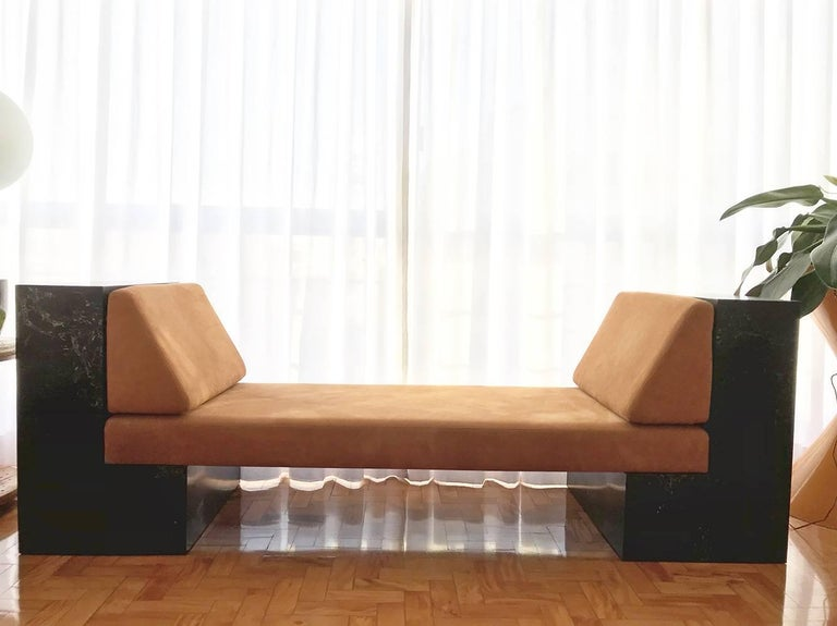 Modern INI Daybed by Noemi Saga Atelier Caesarstone/Leather Brazilian Contemporary For Sale
