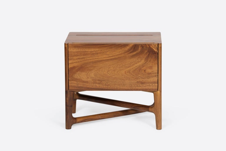 Contemporary Carved Walnut Nightstand For Sale