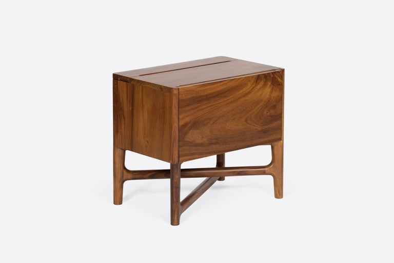 Modern Carved Walnut Nightstand For Sale