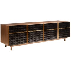 Four-Panel Resin Sideboard in Wood with Resin Fronts and Brass Details