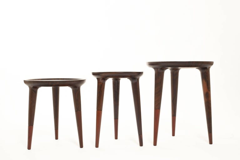 Modern Chamak Tropical Wood Side Tables Set For Sale