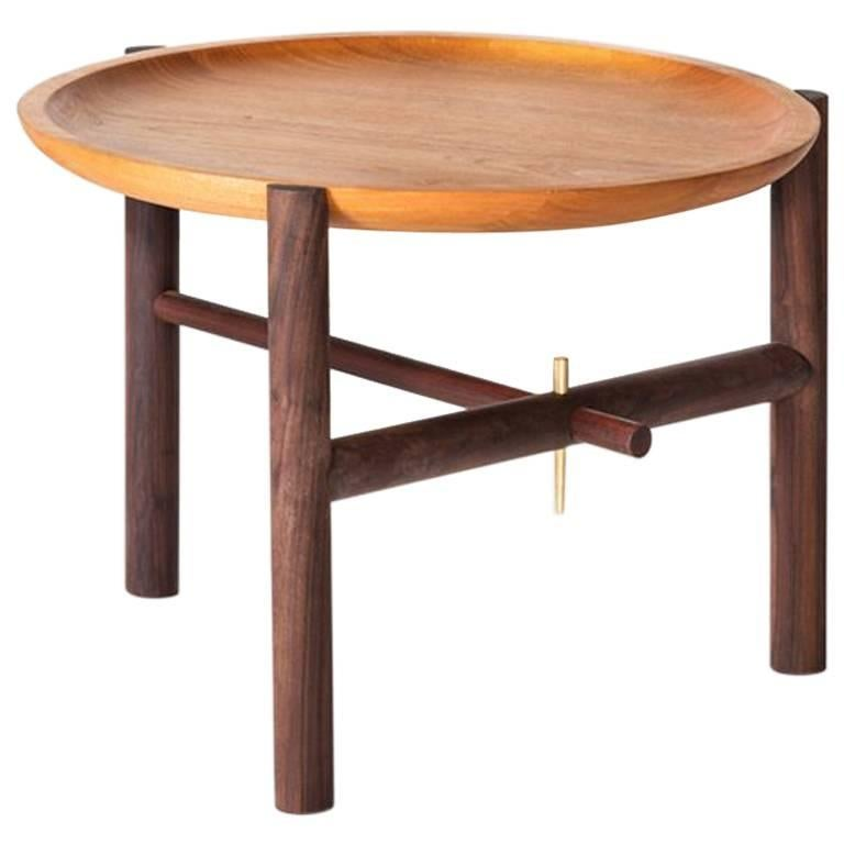 Ocum Low Side Table in Tropical Wood For Sale
