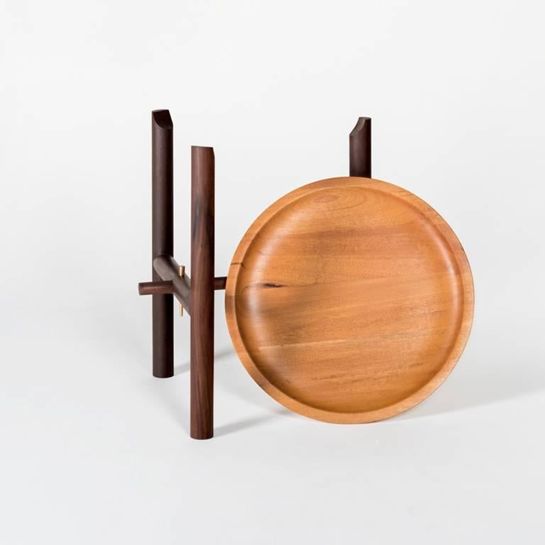 Modern Ocum Low Side Table in Tropical Wood For Sale
