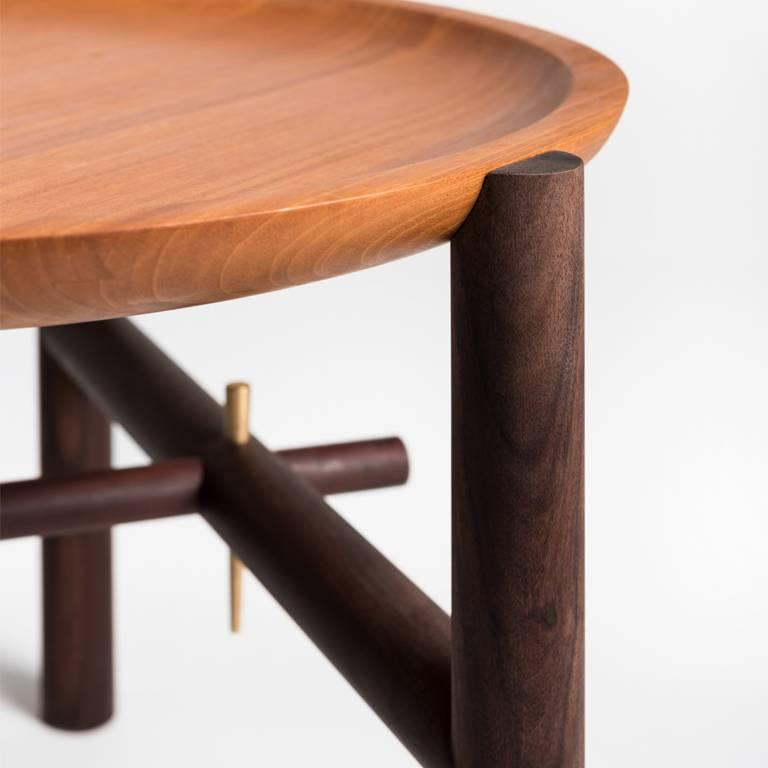 Turned Ocum Low Side Table in Tropical Wood For Sale