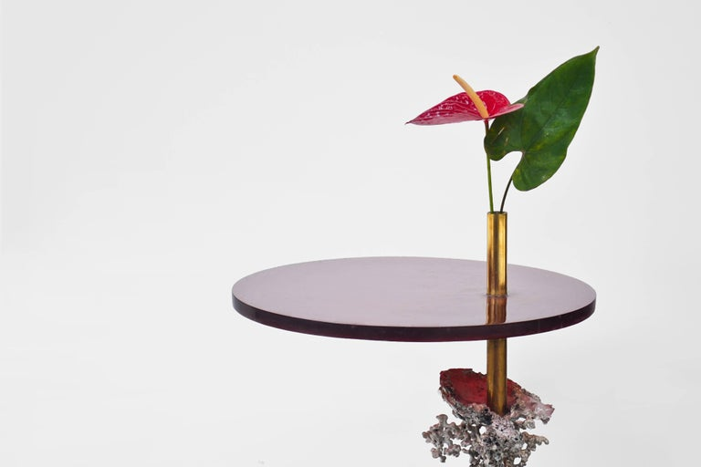 This Side Table is a unique piece and makes part of Formigueiros Series. It is made out of an aluminum casted anthill mold, resin, and brass. To create the table, the unknown and unexpected geometry of an anthill was extracted with molten aluminum