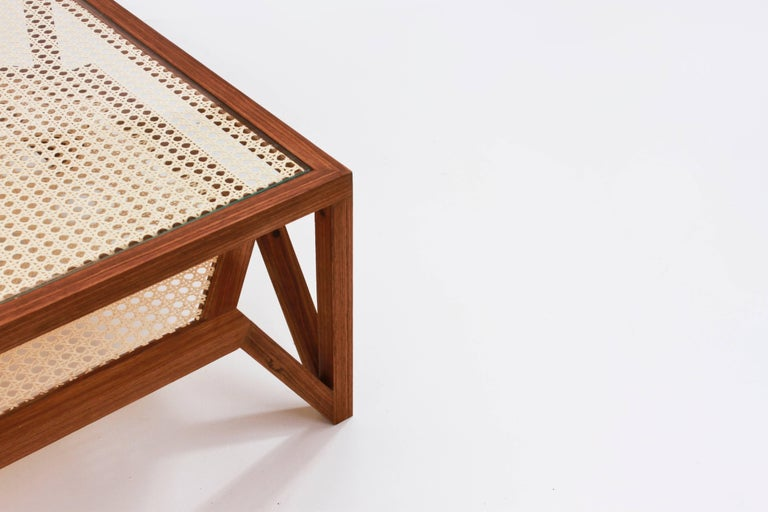 Coffee Table in Hardwood and Woven Cane. Contemporary Design by O Formigueiro. For Sale 2