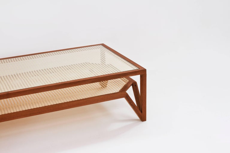 Coffee Table in Hardwood and Woven Cane. Contemporary Design by O Formigueiro. For Sale 1