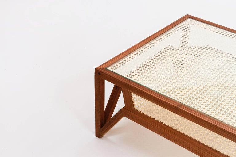 Woodwork Coffee Table in Hardwood and Woven Cane. Contemporary Design by O Formigueiro. For Sale