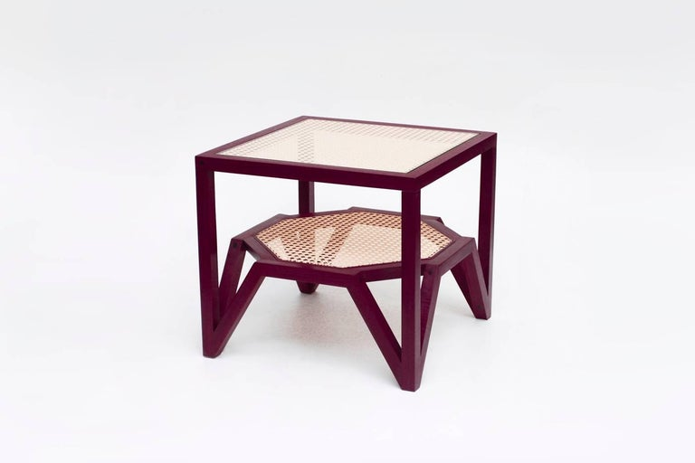 The side table was designed to simulate the moiré pattern, a visual effect that occurs when viewing a set of lines or dots that overlaps on another set of lines or dots, where the sets differ in size, angle, or spacing. In order to create this
