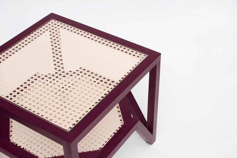 Side Table in Hardwood and Woven Cane. Contemporary Design by O Formigueiro. In New Condition For Sale In Rio de Janeiro, RJ