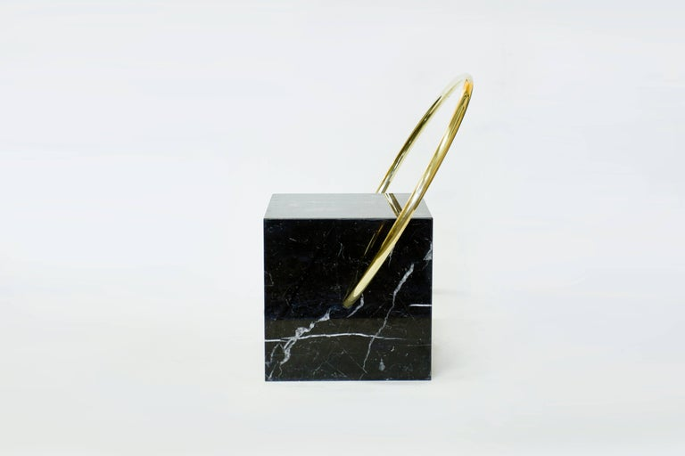 Minimalist Stool in Black Marble and Brass, Limited Edition by O Formigueiro For Sale