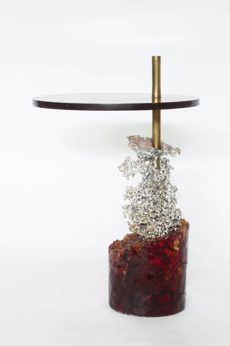 Brazilian Side Table in Aluminum, Resin and Brass. Unique Piece; Contemporary Design. For Sale