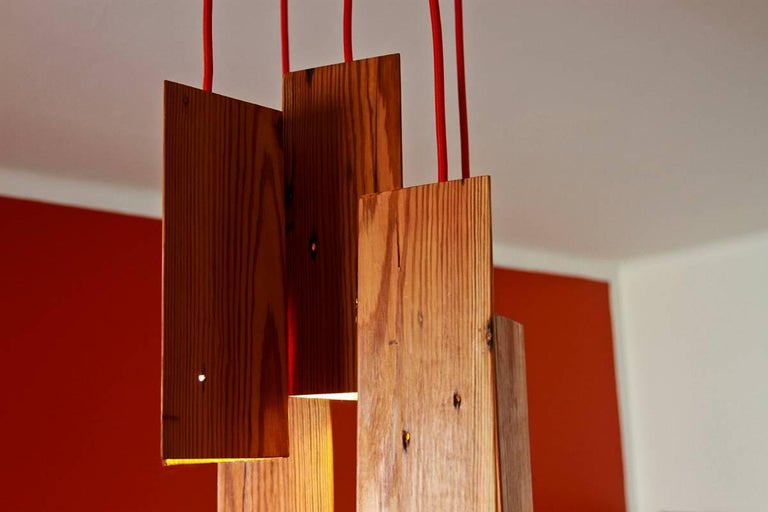 Woodwork Pendant Lamp in Wood. Brazilian Contemporary Design by O Formigueiro. For Sale