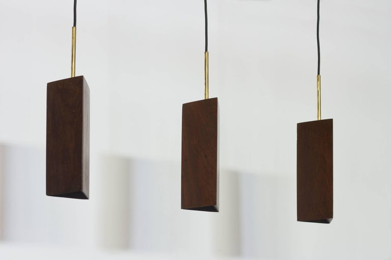 Pendant Lamp in Wood and Brass. Brazilian Contemporary Design by O Formigueiro. For Sale 2