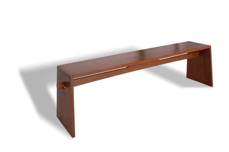 Tropical Brazilian hardwood bench, hand crafted in a contemporary style made with angled dovetail and spindle joints.  The beauty of tropical hardwood joined in traditional way with dovetails and  Measurements are customized by demand.