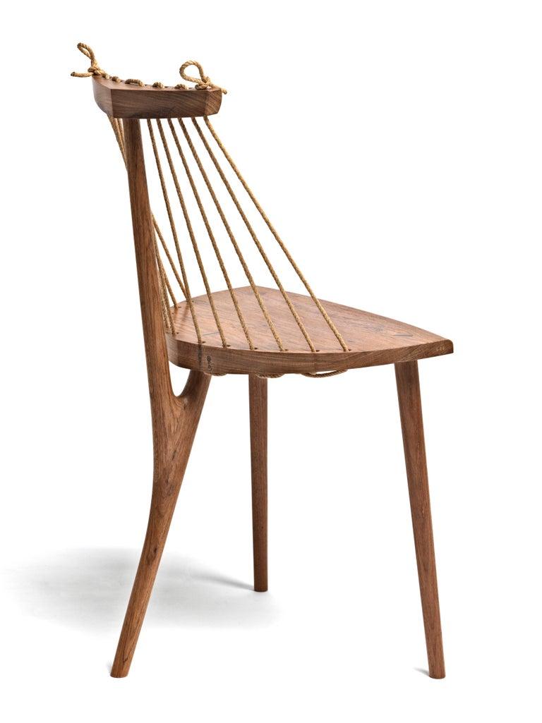 Cord Contemporary Three Legged Chair in Brazilian Hardwood by Ricardo Graham Ferreira For Sale