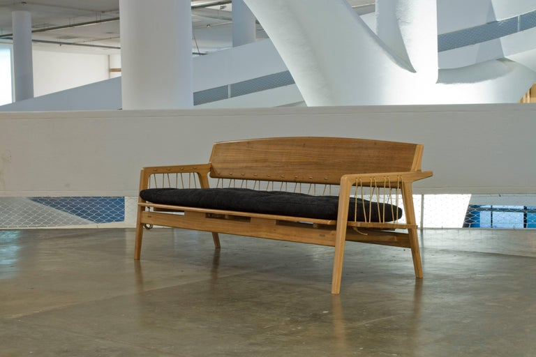 Contemporary Bench in Tropical Hardwood and Cord by Ricardo Graham Ferreira For Sale 1
