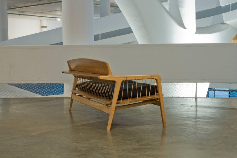Contemporary Bench in Tropical Hardwood and Cord by Ricardo Graham Ferreira For Sale 2
