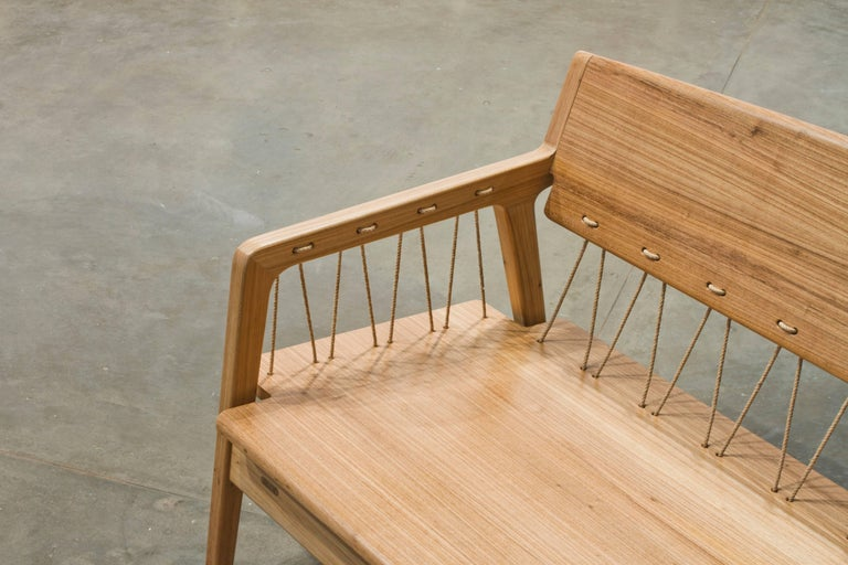 Contemporary Bench in Tropical Hardwood and Cord by Ricardo Graham Ferreira In New Condition For Sale In Nova Friburgo, RJ
