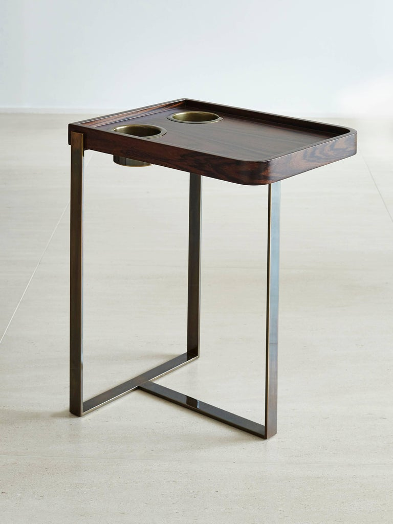 Vermeil Poker Table by Fabio Stal for an All-in Experience, Wood, Brass Details For Sale 3