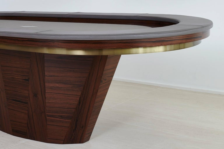 Brazilian Vermeil Poker Table by Fabio Stal for an All-in Experience, Wood, Brass Details For Sale