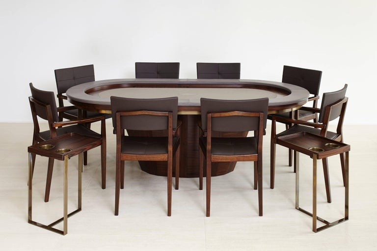 Vermeil Poker Table by Fabio Stal for an All-in Experience, Wood, Brass Details In New Condition For Sale In Sao Paulo, SP