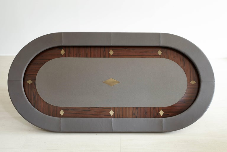 Vermeil Poker Table by Fabio Stal for an All-in Experience, Wood, Brass Details For Sale 2