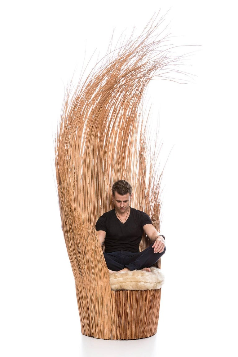 Turned Savana Armchair in Natural Wicker, Brazilian Contemporary Style For Sale