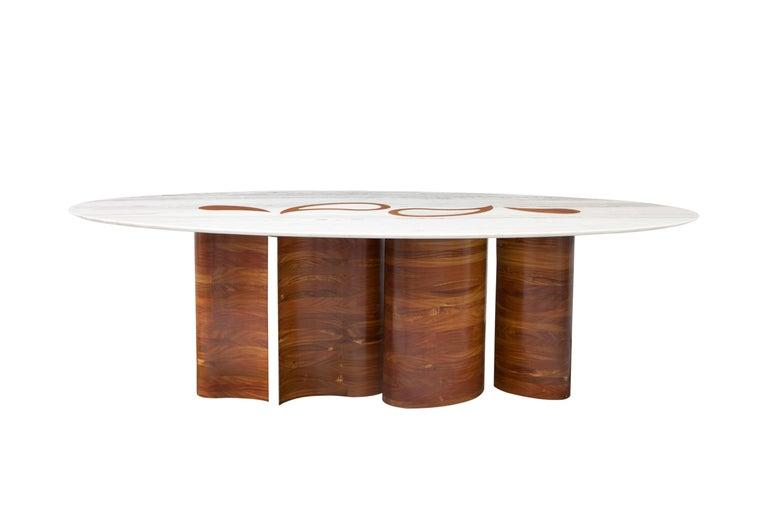 Wood and Marble Petalas Oval Table by Brazilian Yankatu 2