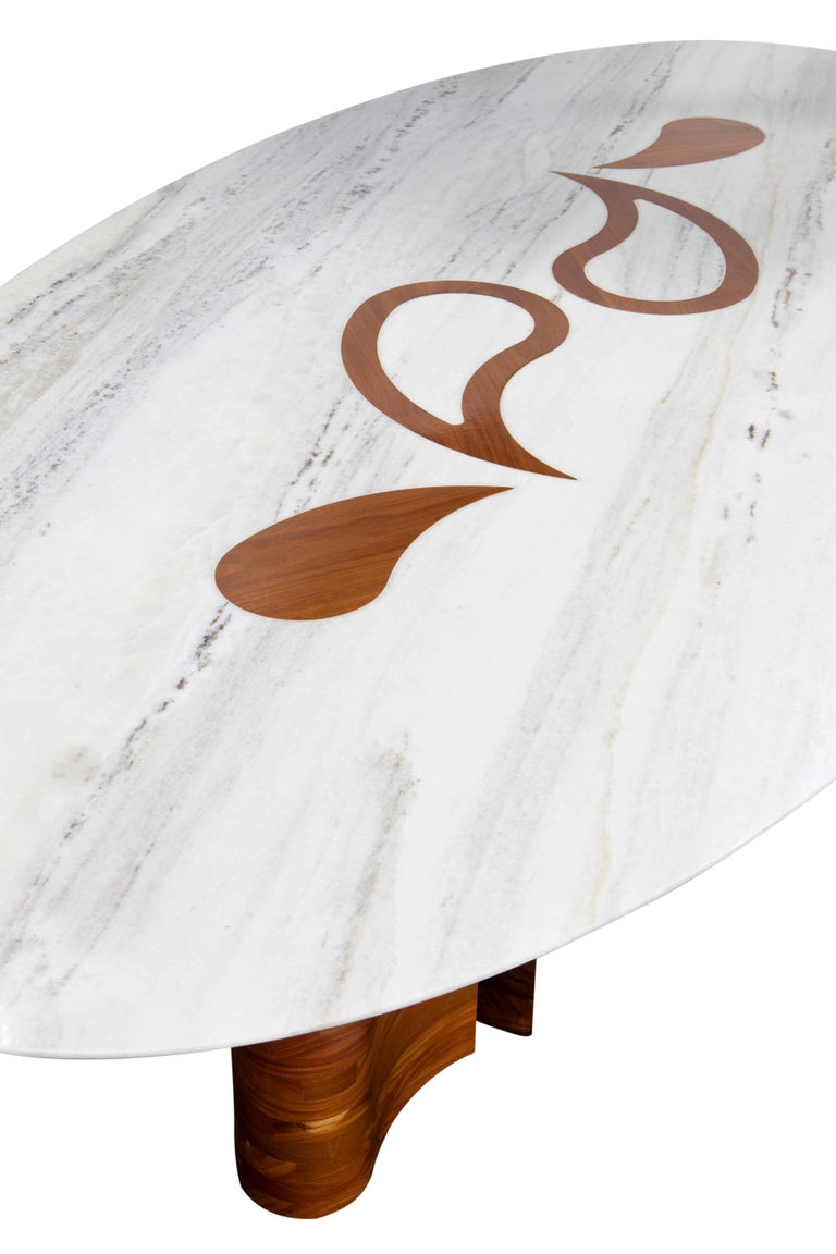 Wood and Marble Petalas Oval Table by Brazilian Yankatu 3