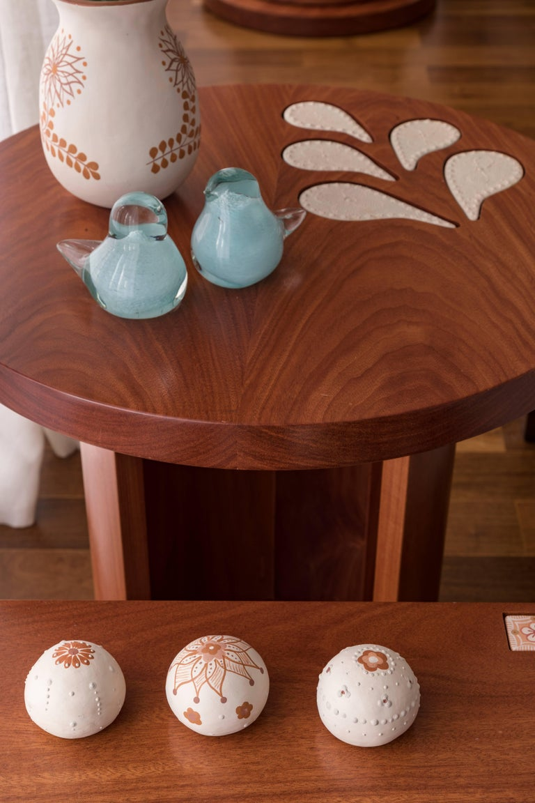 Contemporary Encontros Side Table in Cabreuva wood and Ceramic For Sale