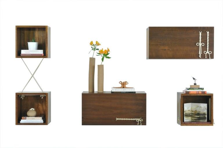 Brazilian Entrelaçados Floating Cube Shelf in Imbuia Wood For Sale