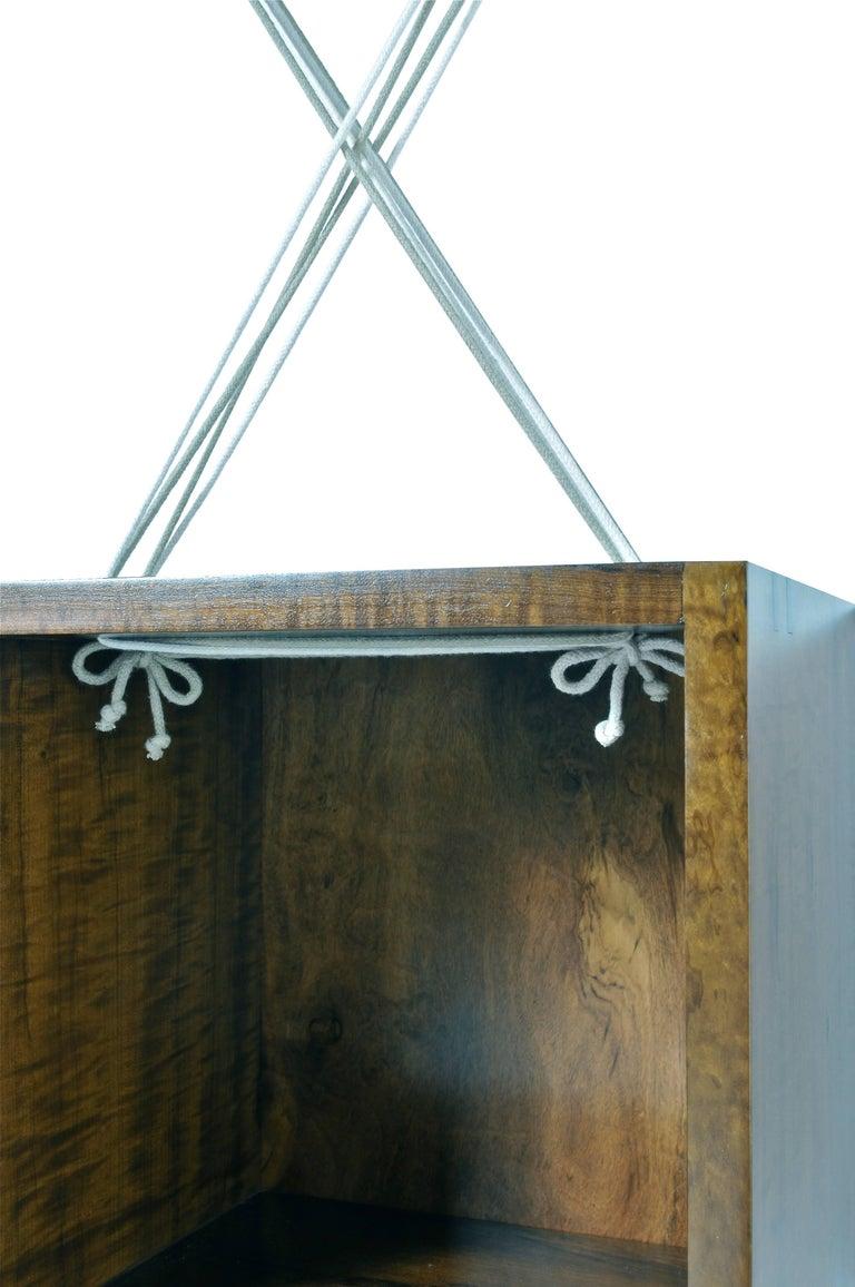 Entrelaçados Floating Cube Shelf in Imbuia Wood For Sale 2